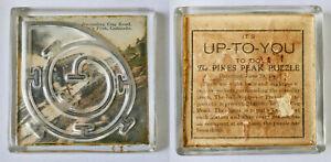 Anitque 1904 PIKE'S PEAK GLASS DEXTERITY PUZZLE - COG RAILWAY - COLORADO SPRINGS