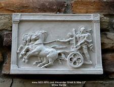 """Roman Greek Chariot Thorvaldsen Alexander Great & Nike Artifact Carved 12"""" wall"""