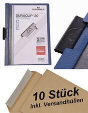 10 DURABLE Klemm-Mappe DURACLIP 30, Hartfolie bis 30 Blatt dunkelblau +Umschläge