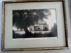 Vintage Judaica Israel 1967 Print of Rachel's Tomb Signed By The Artist Framed