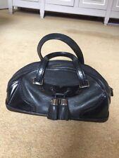 Celine black leather tassle handbag