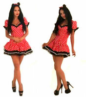 Sexy Flirty Lady Minnie Mouse Fancy Dress Costume Outfit Hen Party Size 6-16