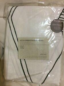West Elm One (1) Aziza Embroidered Tassel Curtain 48x108 NWT White & Slate Gray