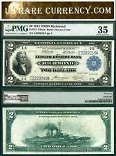 1918 $2 Federal Reserve Bank Note Richmond Pmg Vf35 The Battleship Note