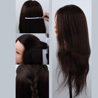 REAL Human Hair Hairdressing Training Head Mannequin Salon Practice WITH Clamp