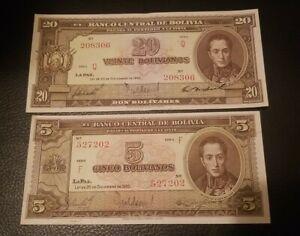 Bolivia 20 Bolivianos, 1945, Banknote, UNC & 5 bolivianos 1945 12.20 lot of two