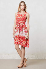 Anthropologie Coral Gardens Dress Size S, Red Floral Print Jersey Sundress Lilka