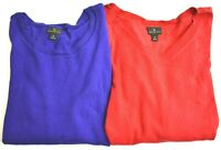Worthington Women's M Long Sleeve Crew V-Neck Spring Sweater Lot of 2 Red Blue