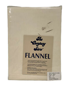 New The Company Store Flannel Twin Flat Sheet Ivory Napped Cotton European Made