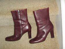 Bally Ankle Boots Leather Brown Burgundy size 6.5 us 37 EU Side Zipper grained