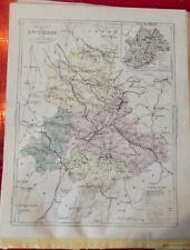 Old Map 1900 France Département Haute Vienne Limoges Bellac Chateauneuf