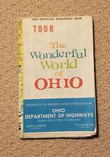 Vintage 1967 Official Highway Map, Tour The Wonderful World of Ohio