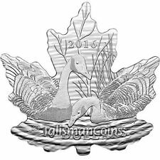 2016 Canada Geese Maple Leaf Shaped Silhouette Coin $10 Pure Silver Goose Proof