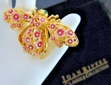 NEW Joan Rivers Cherry Blossom Pink Flowers BEE PIN BROOCH Large Enameled Gold