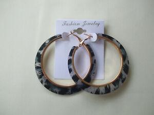 Animal Print Acrylic Hoop Earrings Grey New