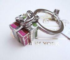 NWT Coach Legacy Stripe Present Keychain Key Chain Fob Charm 62717