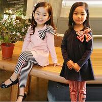 New Girls T-shirt + Pants 2Pcs Outfits Sets Bowknot Stripes Long Sleeves Clothes