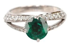 1.95Ct Natural Green Emerald Round Shape Engagement Ring In 925 Sterling Silver
