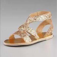 Pedro Garcia Zana Metallic Gold Glitter Gladiator Sandals EU 39