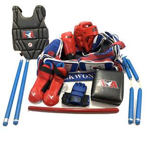 ATA Taekwondo Karate Youth Sparring Gear Bag & Equipment Weapon Pad Lot Extras