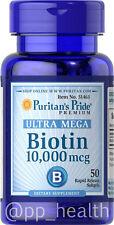 Puritan's Pride Biotin 10,000 mcg 50 Softgels Skin&Hair Health MADEinUSA