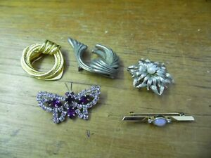 costume jewellery collection 4 brooches & a scarf clip inc butterfly flower &bar