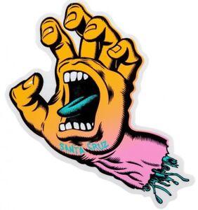 "SANTA CRUZ Screaming Hand Sticker / Skateboard Snowboard Surf - 6"" tall FADED"