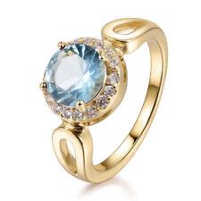 Elegant 8mm Aquamarine Light Blue Gemstone Gold Filled Lady Party Banquet Rings