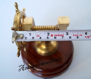 Vintage Brass Walnut Heavy Duty Nut Cracker Works Great Nautical Ship Wheel Gift