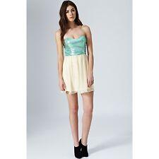 BNWT Rare London Sequin Babydoll Evening Prom Dress Mint/Cream Size 14