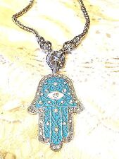 Pewter Antique Reproduction Turquoise Enamel Hand Of God Charm Necklace