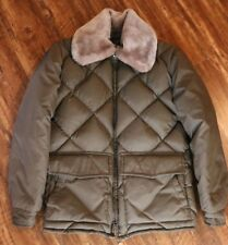 TEMPCO Goose Down Puffer Rancher Western Jacket Coat w/ faux collar Sz L USA