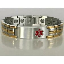 "& Stainless Steel Magnetic Bracelet Pro Health 8"" Men Medical Alert 3 Gold Lines"