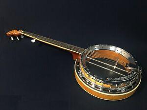 Caraya BJ-009A 5-string Clear Top Banjo,Flame Maple Resonator+Lockable Hard Case