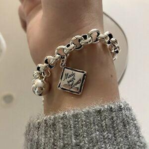 925 Silver English Square Chain Charm Bracelet Adjustable Bangle Women Jewelry
