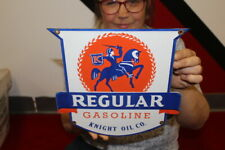 New ListingKnight Oil Co. Regular Gasoline Gas Pump Plate Station Porcelain Metal Sign