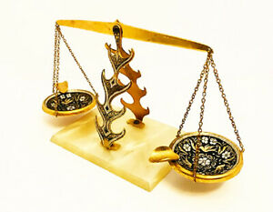 """Brass Ashtray Balance Scales of Justice Vintage Lightweight Unique 4.5"""" Tall"""
