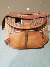 Vtg Japanese Fishing Creel Wicker/ Leather front tackle Pouch/Strap Free Ship