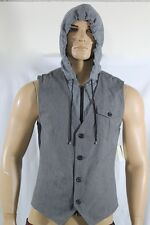 100% AUTHENTIC NEW GUESS DENIM VEST WITH HAT LINED SZ  M  GRAY BEAUTIFUL