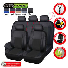 CARPASS PU Leather Auto car Seat Covers Full Synthetic Set 2Front &1Bench BLACK