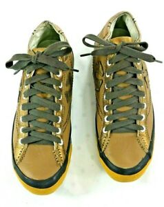 True Religion Womens Light Brown Leather High Top Sneakers Gold Trim/ Logo Sz 8