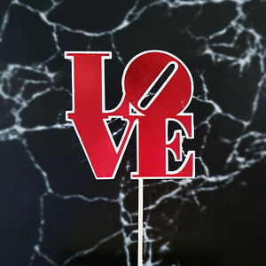 """""""LOVE"""" Rose Gold and Black Cake Topper - Gold - Silver - Red"""