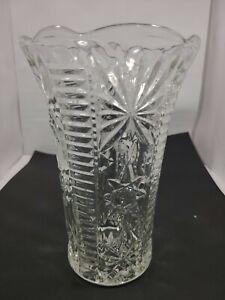 """VTG 8"""" EAPG/Pressed Cut Glass Fluted Trumpet Vase Ladder & Deep Cut Floral"""