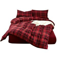 FenDie Plaid Christmas Holiday Brushed Cotton Duvet Cover Set king