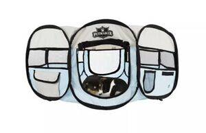 Portable Pop Up Pet Play Pen with carrying bag 33in diameter 15.5in Blue by P...