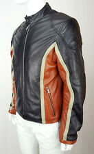 WILSONS LEATHER M Julian Men Soft Napa Biker Panel Jacket Zip Elbow Black M L 50