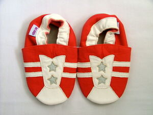 Brand New Soft Leather Baby Shoes  0-6 Months Sports Trainer Motif Girls/Boys