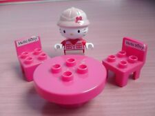 HELLO KITTY Lego Duplo - table, two chairs and Kitty with hat