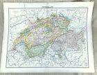 Antique Map of Switzerland Swiss Cantons Valais Bern Zurich Grisons Basel 1893