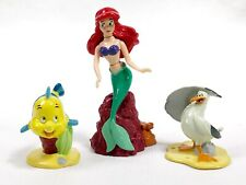 Disney Little Mermaid Figures Ariel Flounder Scuttle Lot of 3 Cake Toppers EUC